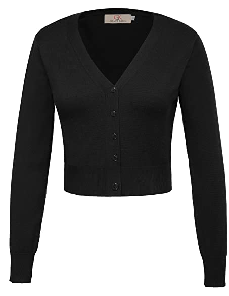Grace Karin Women's Solid Cotton Open Front Cropped Bolero Shrug ...