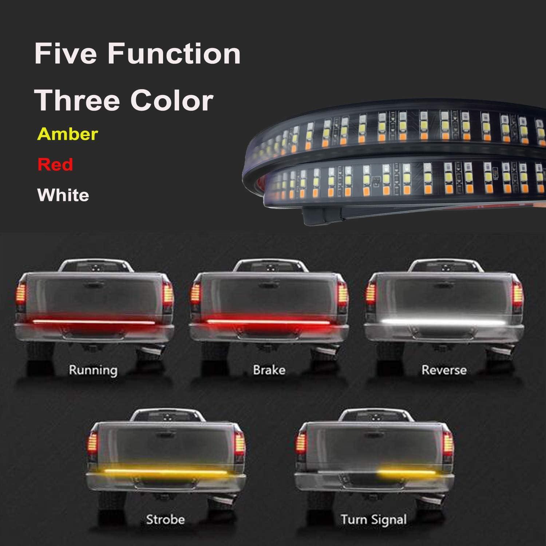 AUTUNEER 60 Triple Row 504LED Truck LED Light Strip Amber//Red//White Waterproof Running Reverse Braking Turn Signal for Pickup SUV RV Trailer Dodge Ram Toyota Chevy LED Tailgate Light Bar