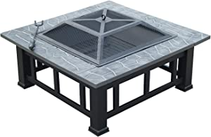 """Outsunny Square 32"""" Outdoor Backyard Patio Metal Firepit"""