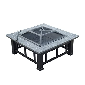 Brasero Exterior de Metal para leña carbón tipo Barbacoa de Jardín Calentador al Aire Libre Terraza Patio Fogón Metal Pizarra Parrilla 81x81x43cm: ...