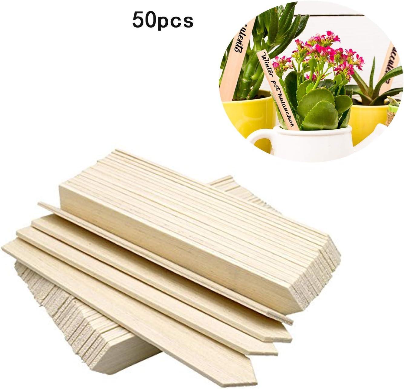 DERCLIVE 50Pcs Etichette per Semi di Piante di bamb/ù Marcatori per Piante da Orto Tag per Piante da Vivaio con Una Penna per Registrare I Giorni per La Crescita delle Piante