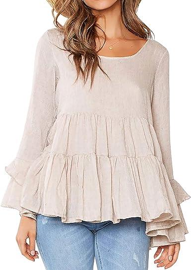 Women Long Sleeve Casual Loose Ruffle O-Neck T-shirt Tops Holiday Blouse UK 8-26