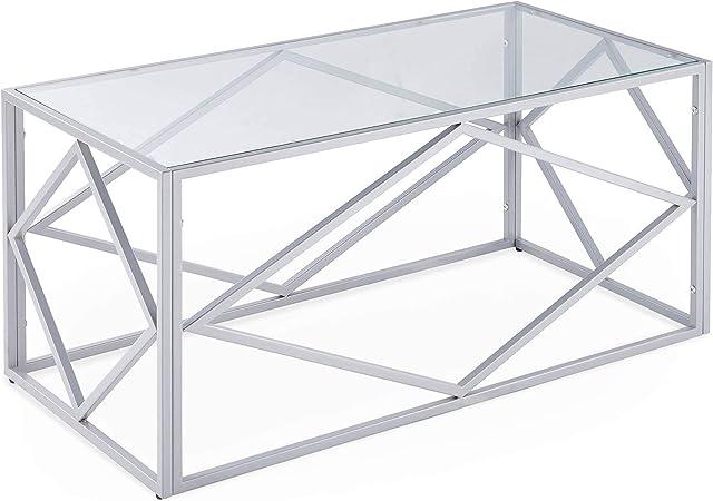 Decoinparis Table Basse Design En Verre Et Metal Rectangulaire Elio