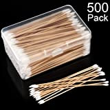 Norme 500 Pieces Cotton Cleaning Swabs, Pointed/Round Tip with Wooden Handle Cleaning Swabs Cotton Buds for Jewelry…