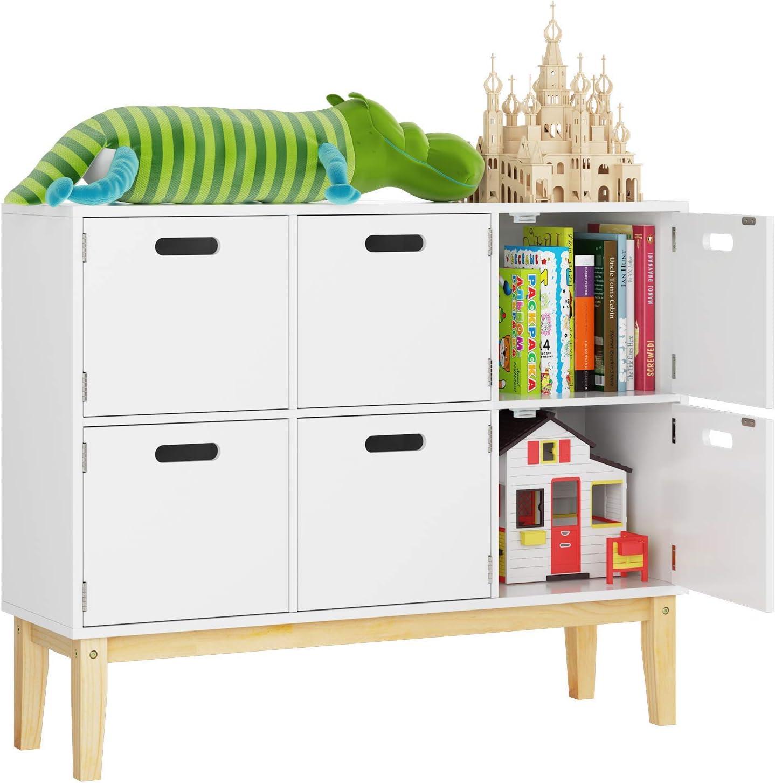 HOMECHO Children Storage Cabinet 6 Cubby Door Kids Floor Toy Book Storage Organizer Cabinet for Children Bookcase Bookshelf for Boy Girl Furniture, Wooden Chest of 6 Drawers, White, 100 x 30 x 80cm