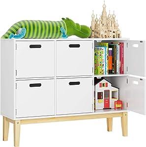 juguetera de madera para niños de color blanco