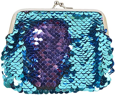 Women Girls Loving Heart Wallet Mermaid Sequins Handbags Cute Coin Purse