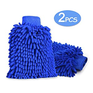 Microfibre Wash Mit, EgoEra¨ 2 Pcs Microfibre Chenille Noodle Wash Glove Pad, Waterproof Ultra-soft Non-scratch Home Car Cleaning Gloves Mitt, Dark Blue
