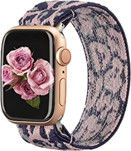 TOYOUTHS Solo Loop Band Compatible with Apple Watch Band Stretchy Elastic 38/40mm Leopard Pattern Soft Nylon Strap Women Cheetah Replacement Wristband for iWatch Series SE/6/5/4/3/2/1