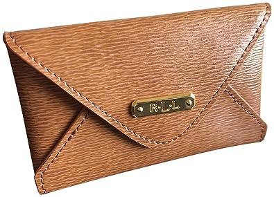 the latest a9cdd d4442 Lauren Ralph Lauren Professional Women's Leather Envelope Card Case Brown