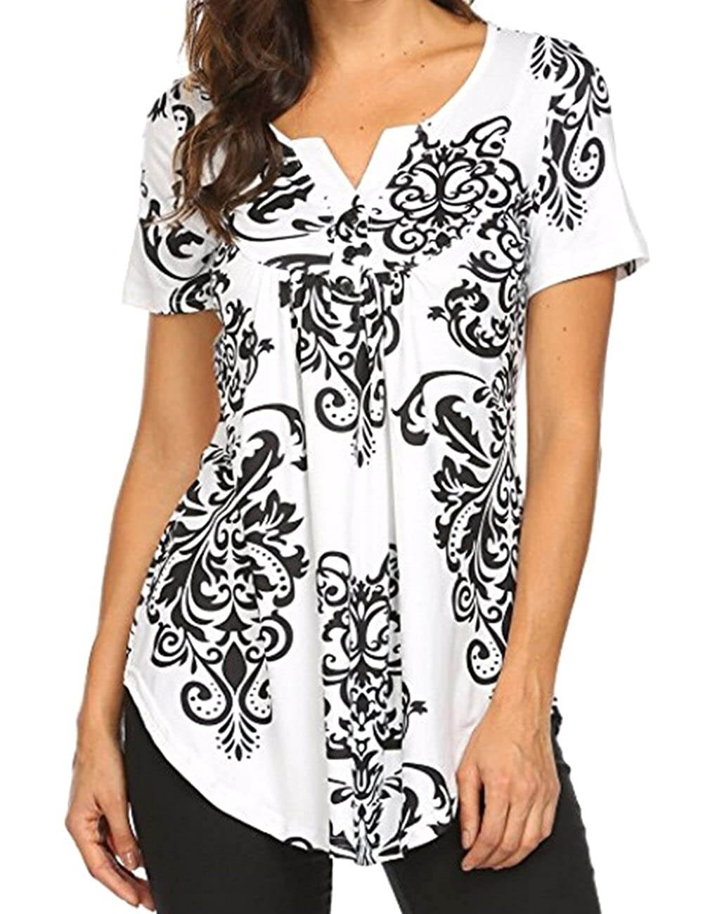 11d0040ddf2 Women\'s Paisley Printed Short Sleeve Henley V Neck Pleated Casual Flare  Tunic Blouse Shirt Sleeve: Short Sleeve Season: Spring/Summer/Fall/Winter