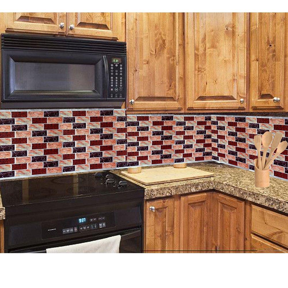 Stick on wall tiles bathroom - Amazon Com 3d Peel And Stick Backsplash Vinyl Anti Mold Kitchen Bathroom Wall Tile 9 X 9 10 Pack Home Kitchen