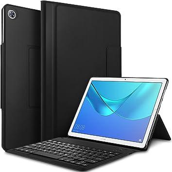 IVSO Teclado Estuche para Huawei MediaPad M5 10.8 [QWERTY English], Slim Stand Funda con Removible Wireless Teclado para Huawei MediaPad M5 10.8 Pro / M5 10.8 2018, Negro: Amazon.es: Electrónica