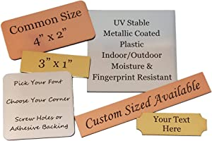 Personalized, Custom Engraved UV Stable Plastic Plaques for Outdoor/Outside Use | Fixed or Custom Sizes Sign