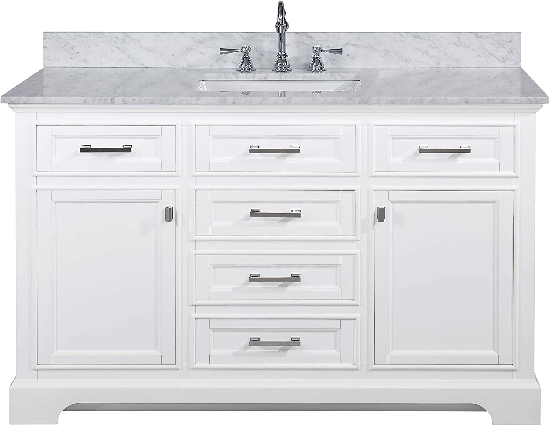 Design Element Ml 54 Wt Milano 54 White Bathroom Vanity With Sink And Carrara Marble Countertop Amazon Com