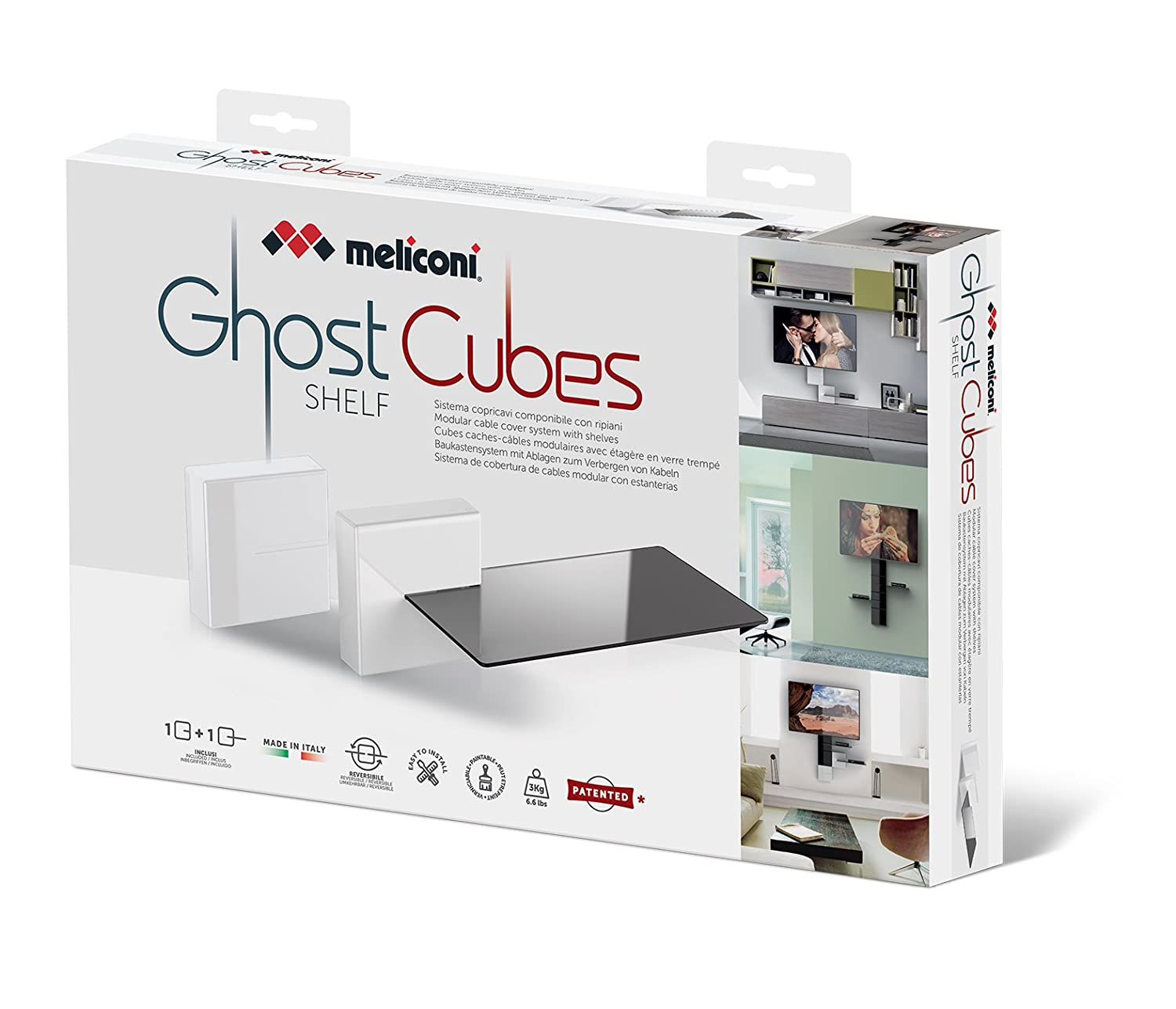 Meliconi 480524 Ghost Cubes Cover Black Stapelbare Kabelkanal schwarz