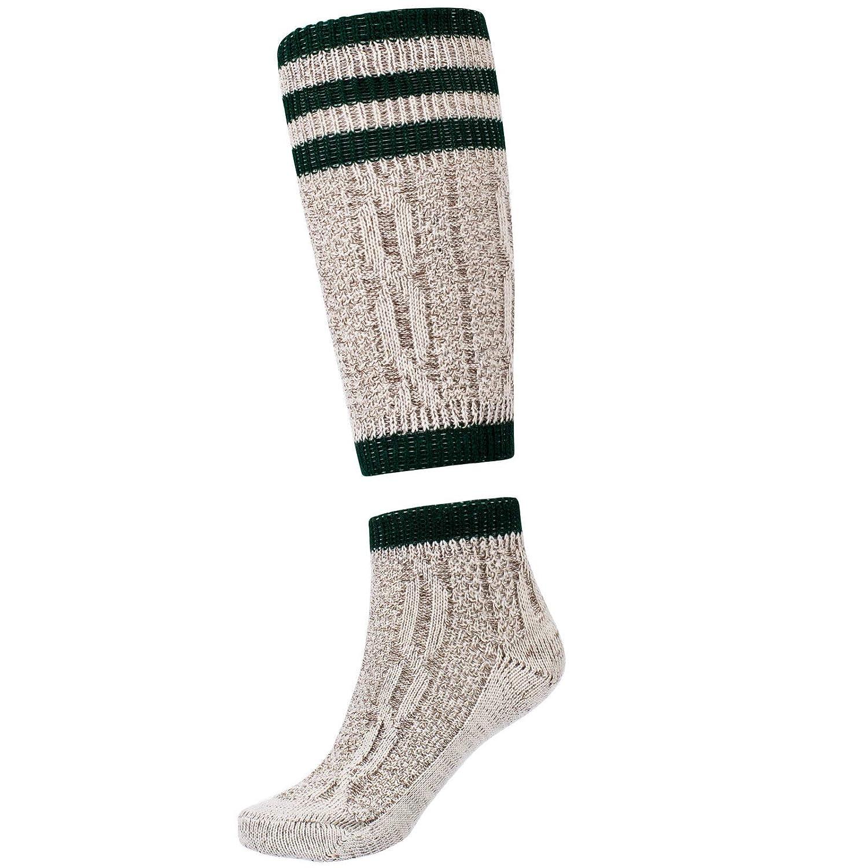 Mens Bavarian Oktoberfest Causal Lederhosen Socks Pairs White & Brown Mix 2 Pieces