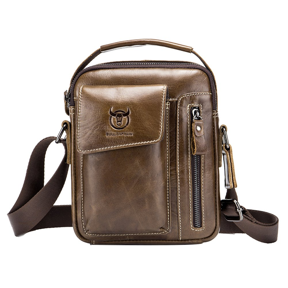Genda 2Archer Men's Leather Small Shoulder Crossbody Messenger Bag Briefcase NCZ037-BK