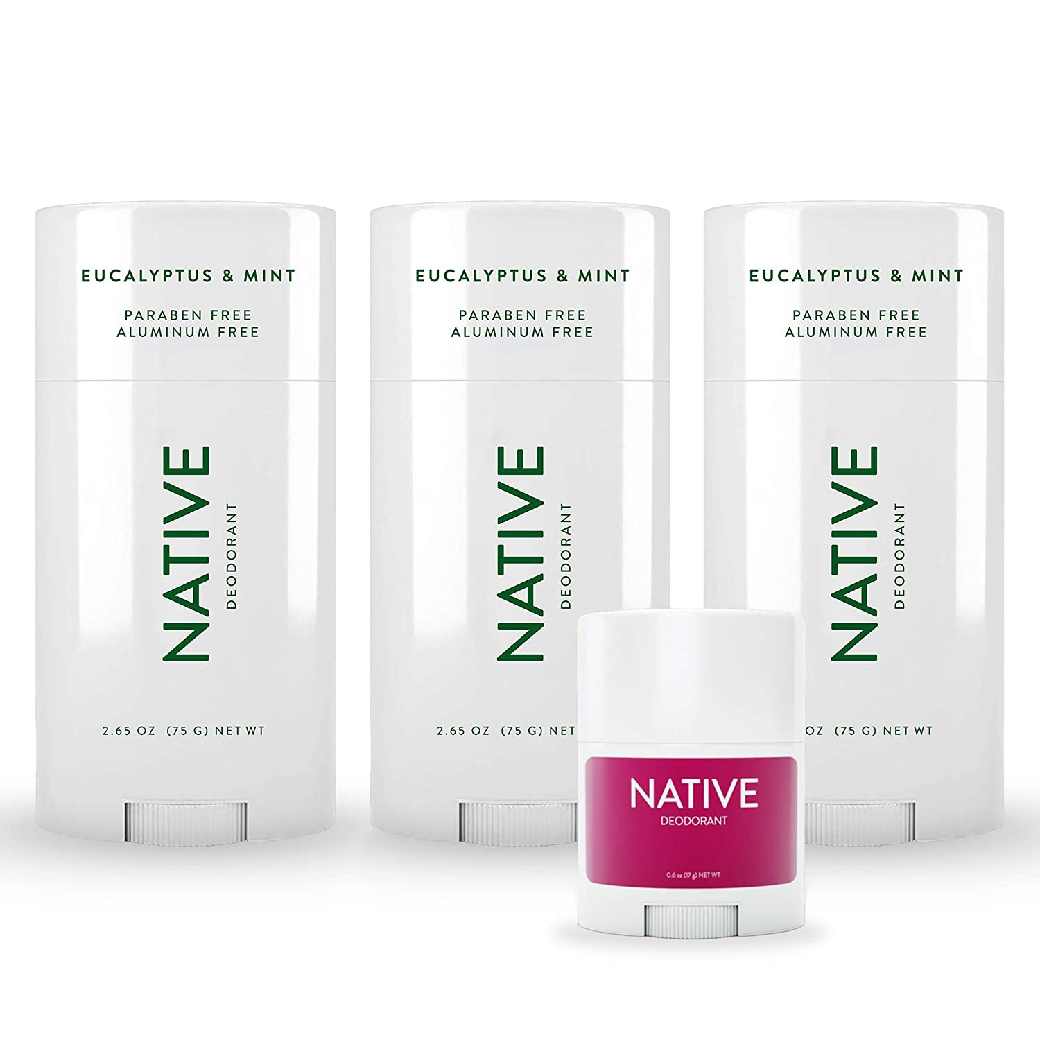 Native Deodorant - Natural Deodorant for Women and Men - 3 Pack of Eucalyptus & Mint and Free Mini Bar of Blackberry & Green Tea - Aluminum Free, Free of Parabens & Sulfates