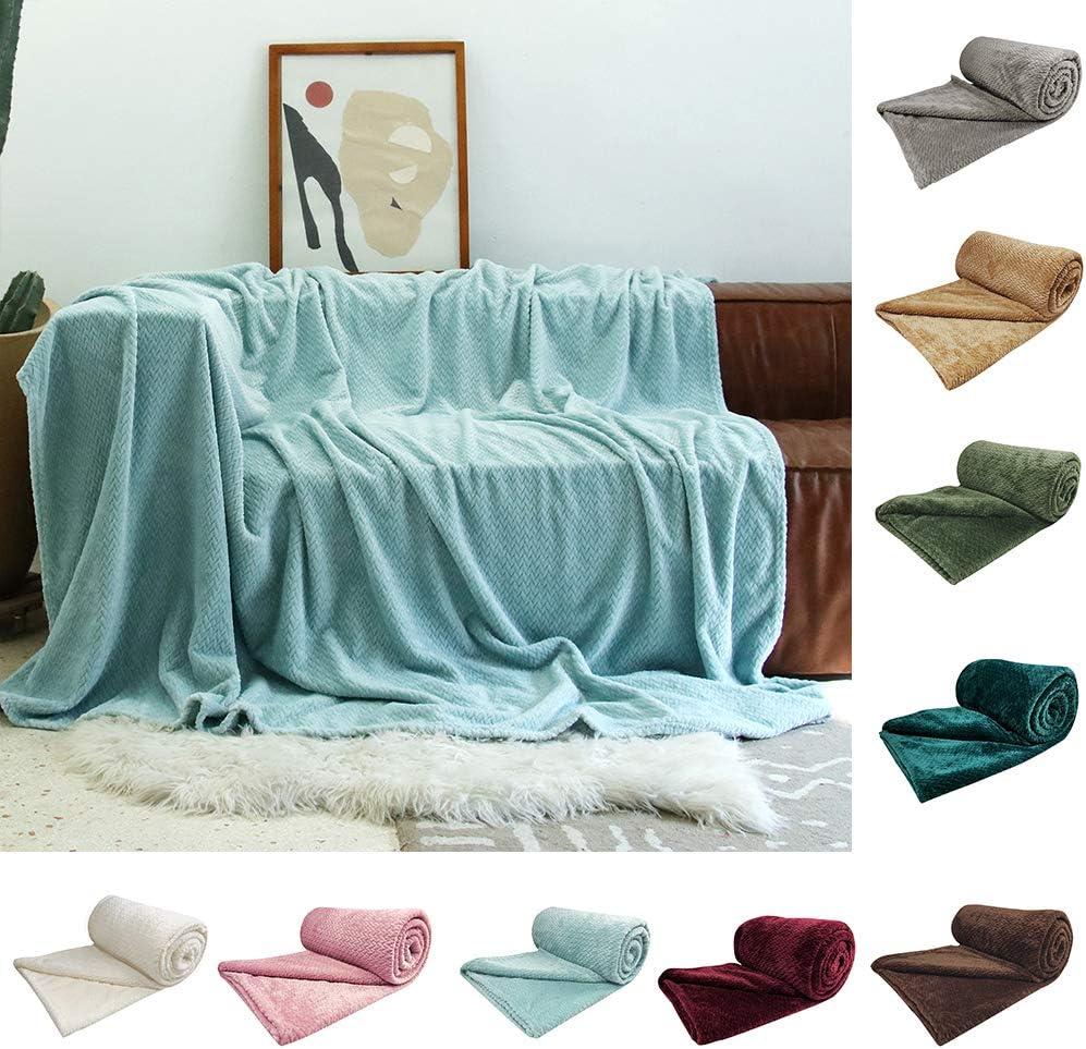 U UQUI Bed Blanket Throw BlanketFleece Bed Blanket Super Soft Warm Fuzzy Velvet Plush Throw Lightweight Cozy Couch Blankets ((66x90 Inch) Twin, Aqua)