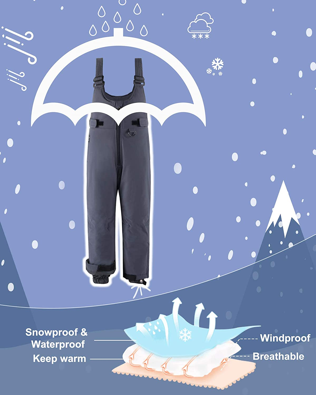 Wantdo Boys Waterproof Skiing Bibs Fleece Lined Trousures