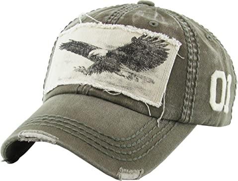 5a4a9e01 KBETHOS Eagle and Free Spirit Distressed Baseball Cap Dad Hat Adjustable  Unisex Fashion