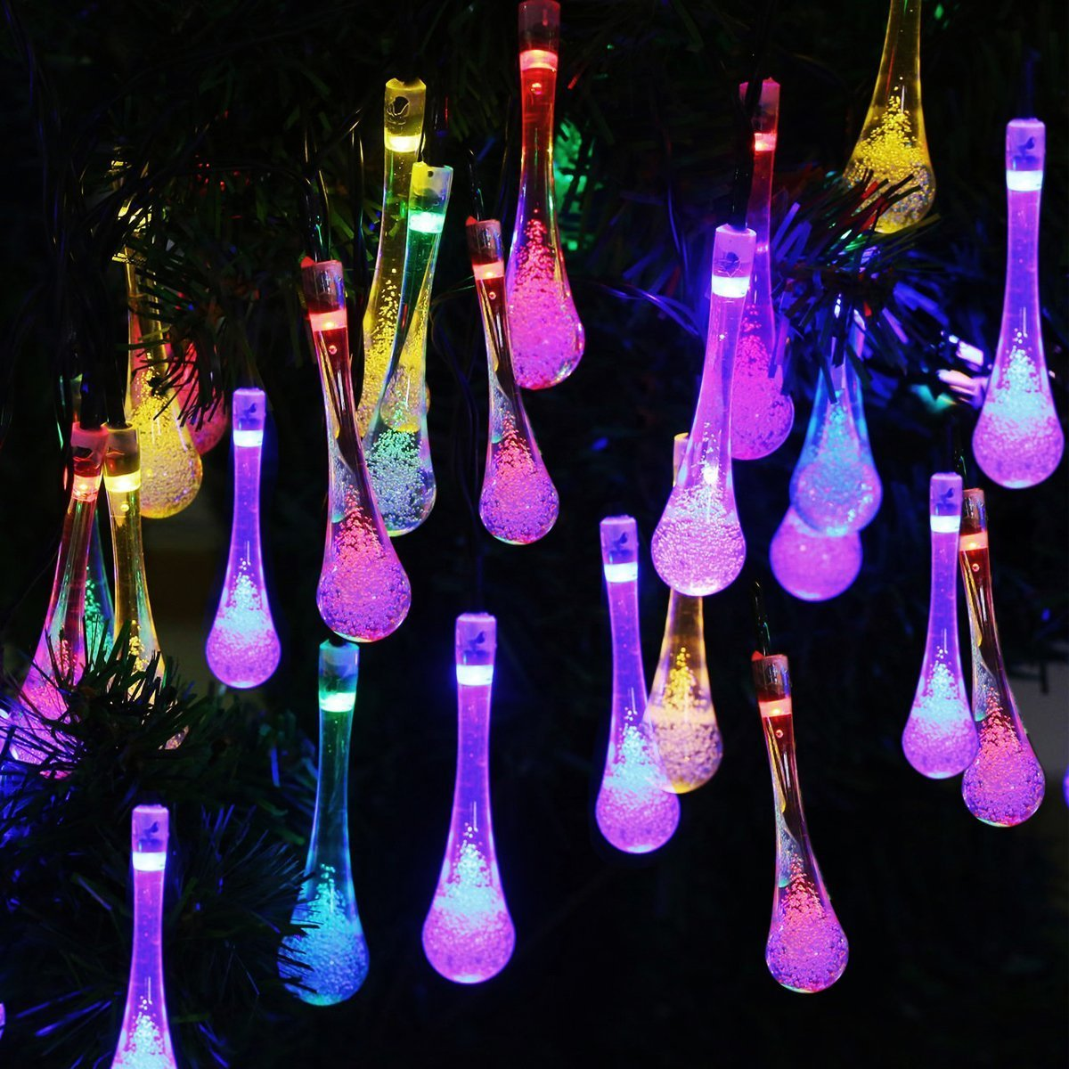 Vmanoo Christmas Decorative Solar Powered Lights, 30LED 19.7ft 8Modes Water drop Fairy String light for Outdoor, Indoor, Home, Patio, Lawn, Garden, Party, Wedding, Gift,Waterproof 2 PACK (Multi-color)