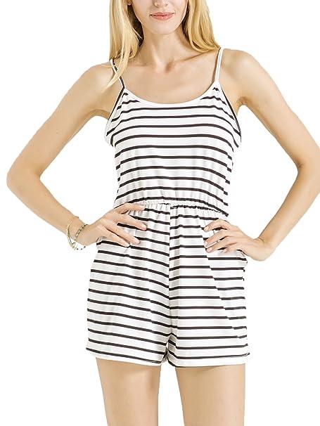 d9f2f54bb792 PERSUN Women s Summer Spaghetti Strap Jumpsuit Sleeveless Stripes Beach  Evening Mini Rompers Black