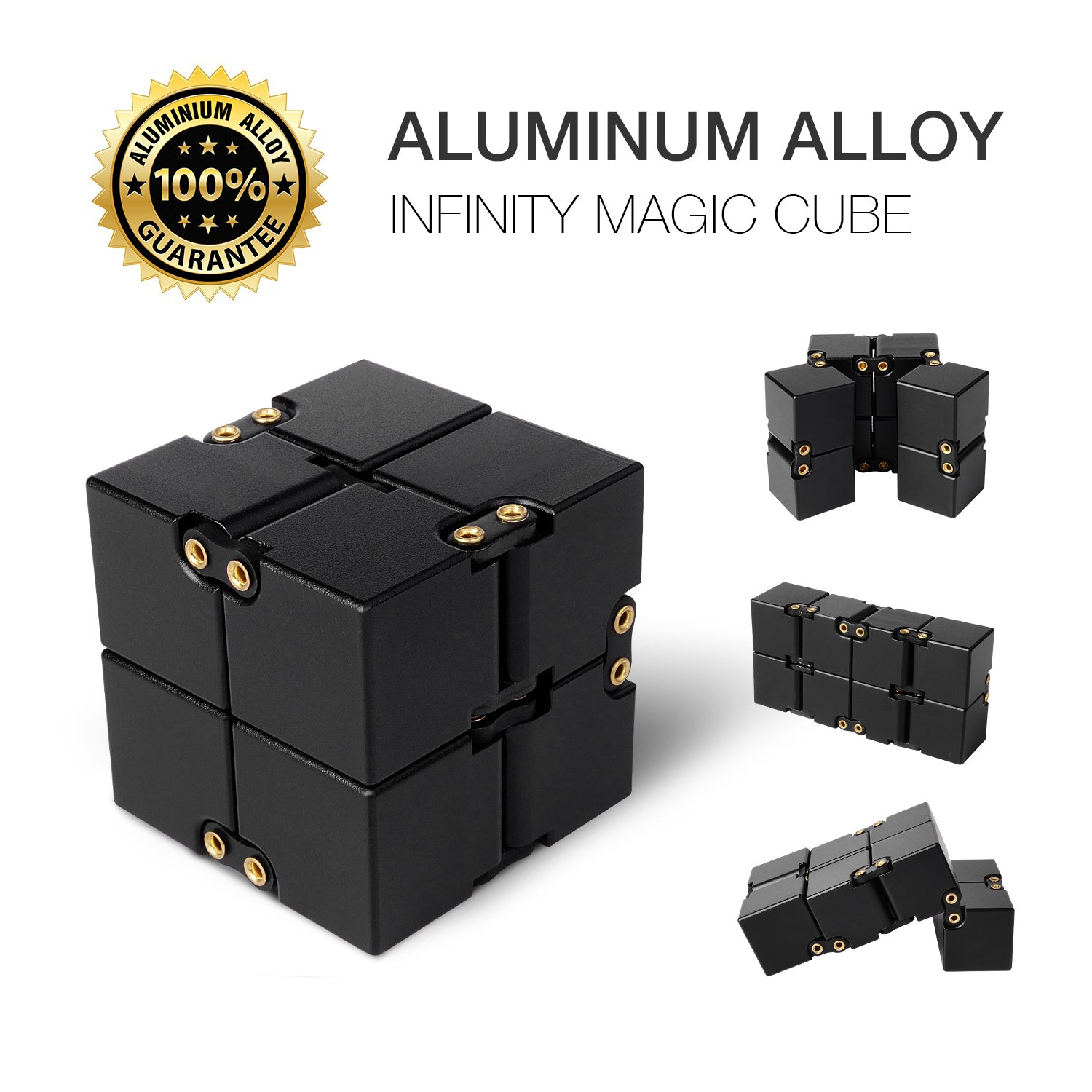 JoyNote Aluminium Alloy Infinity Pocket Size Cube Toys Relaxation Office Stress Reducers for ADD, ADHD, Anxiety, Autism Adult & Kids (Black)
