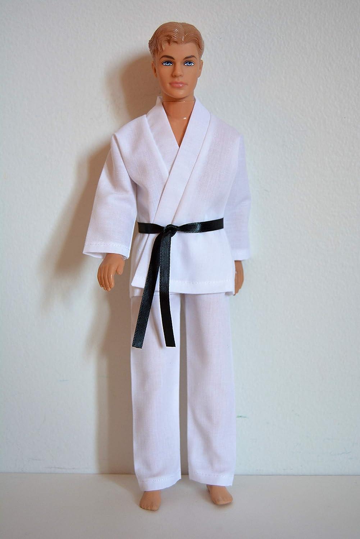 Handmade Doll Clothes White Karate Uniform Gi Judo TKD fits 12' Barbie Boy Dolls