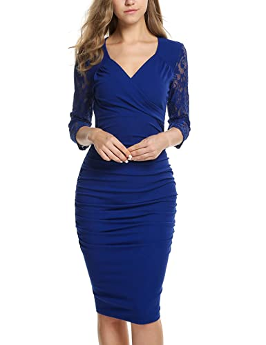 ANGVNS Women's Deep-V Neck Ruffles Floral Lace Fitted Bodycon Evening Pencil Dress