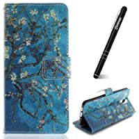 Nokia 3.1 2018 Phone Case,Slynmax Magnetic Flip Folio PU Leather Wallet Protective Cover with Magnetic Closure Stand Function Credit Card Holder ID Slots Cash Money Purse Notebook Style Apricot Tree