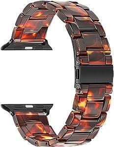 TRUMiRR Band for Apple Watch 44mm 42mm Men Women, Fashion Resin Watchband Metal Stainless Steel Buckle Strap Bracelet for iWatch Apple Watch SE Series 6 5 4 3 2 1 44mm 42mm