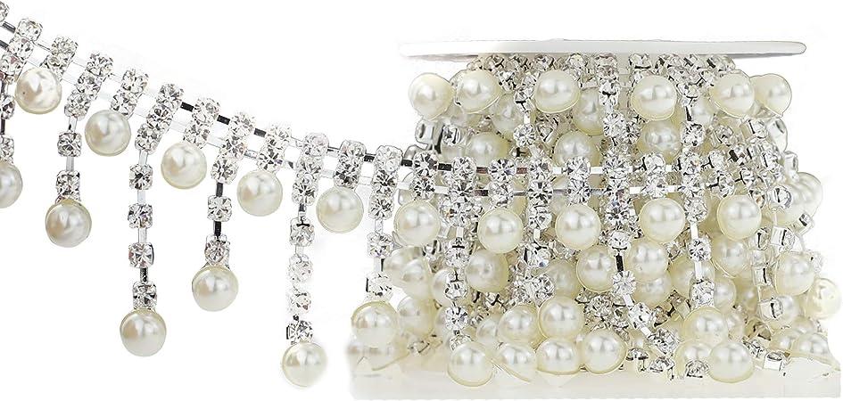 10 Yards Crystal Beaded Ribbon Chain Trim Embellishment Clothing Decor #3