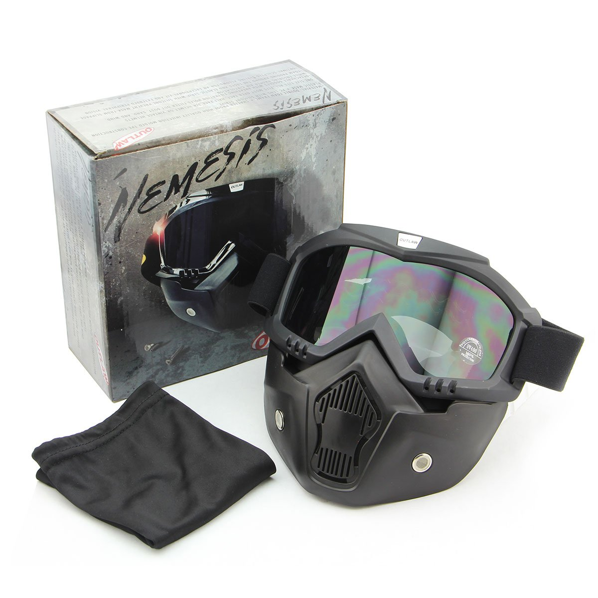 Outlaw 50 Nemesis Vintage Face Mask with Detachable Motorcycle Goggles and UV 4 - One Size