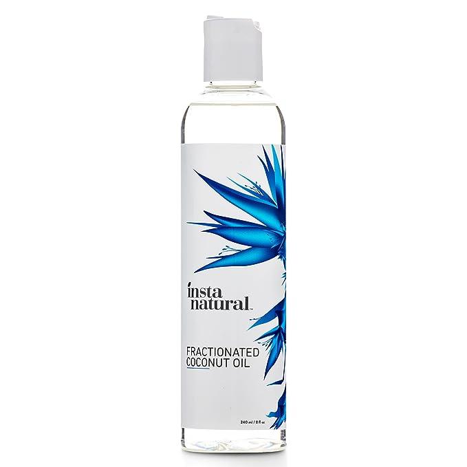 Aceite de Coco Humectante Fraccionado InstaNatural - 100% Puro - Para la cara, cuerpo, cabello y uñas - Ideal para después de afeitarse o depilarse, ...