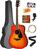 Yamaha FG830 Solid Top Folk Acoustic Guitar - Autumn Burst Bundle with Gig Bag, Tuner, Strings, Strap, Picks, Austin Bazaar Instructional DVD, and Polishing Cloth