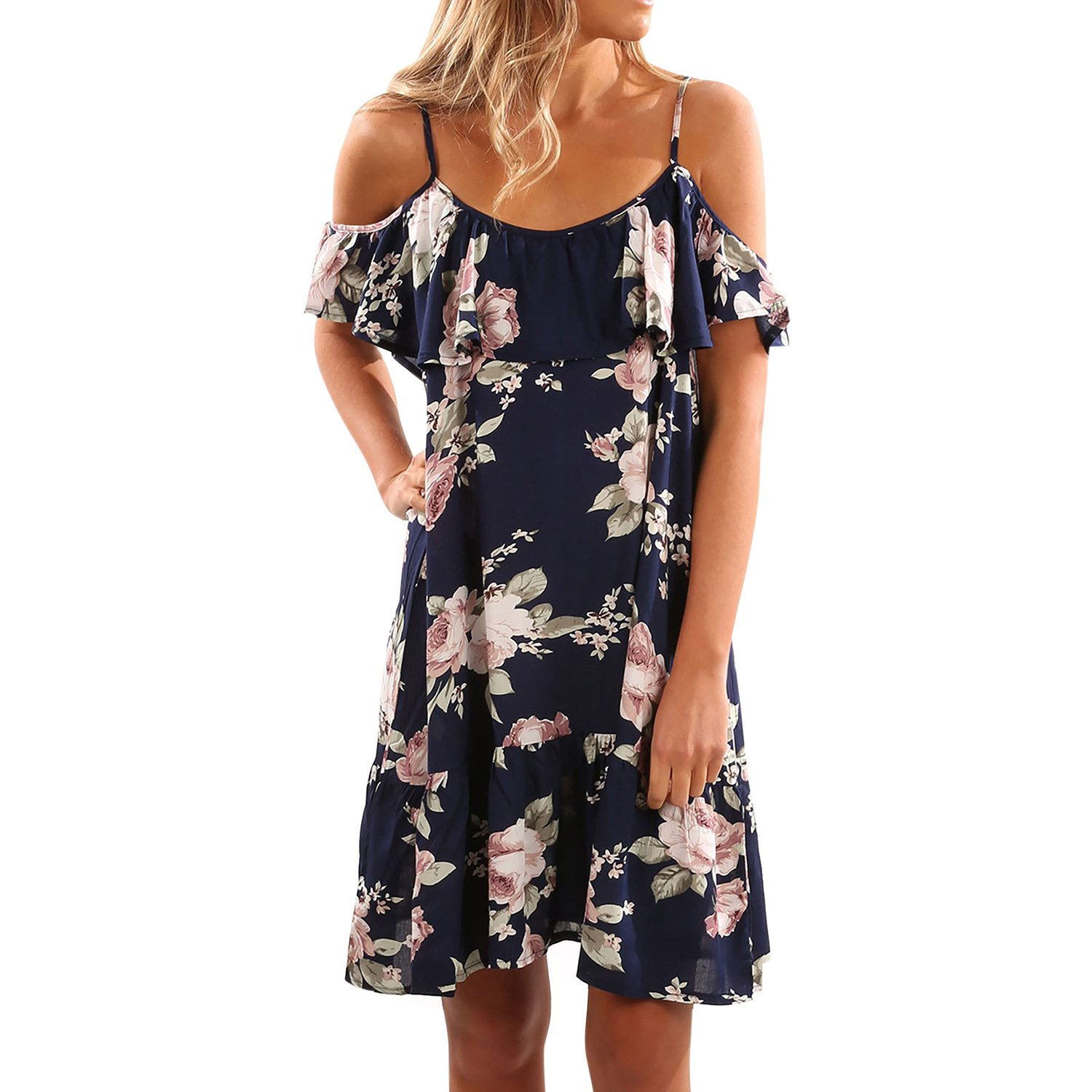 Misscat Women Halter Ruffle Dress Floral Print Off Shoulder Midi Dress
