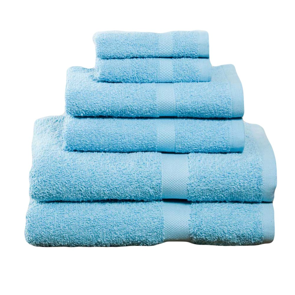 Campus Linens 6 Piece Aqua Deluxe Towel Set College Dorm Bath Set