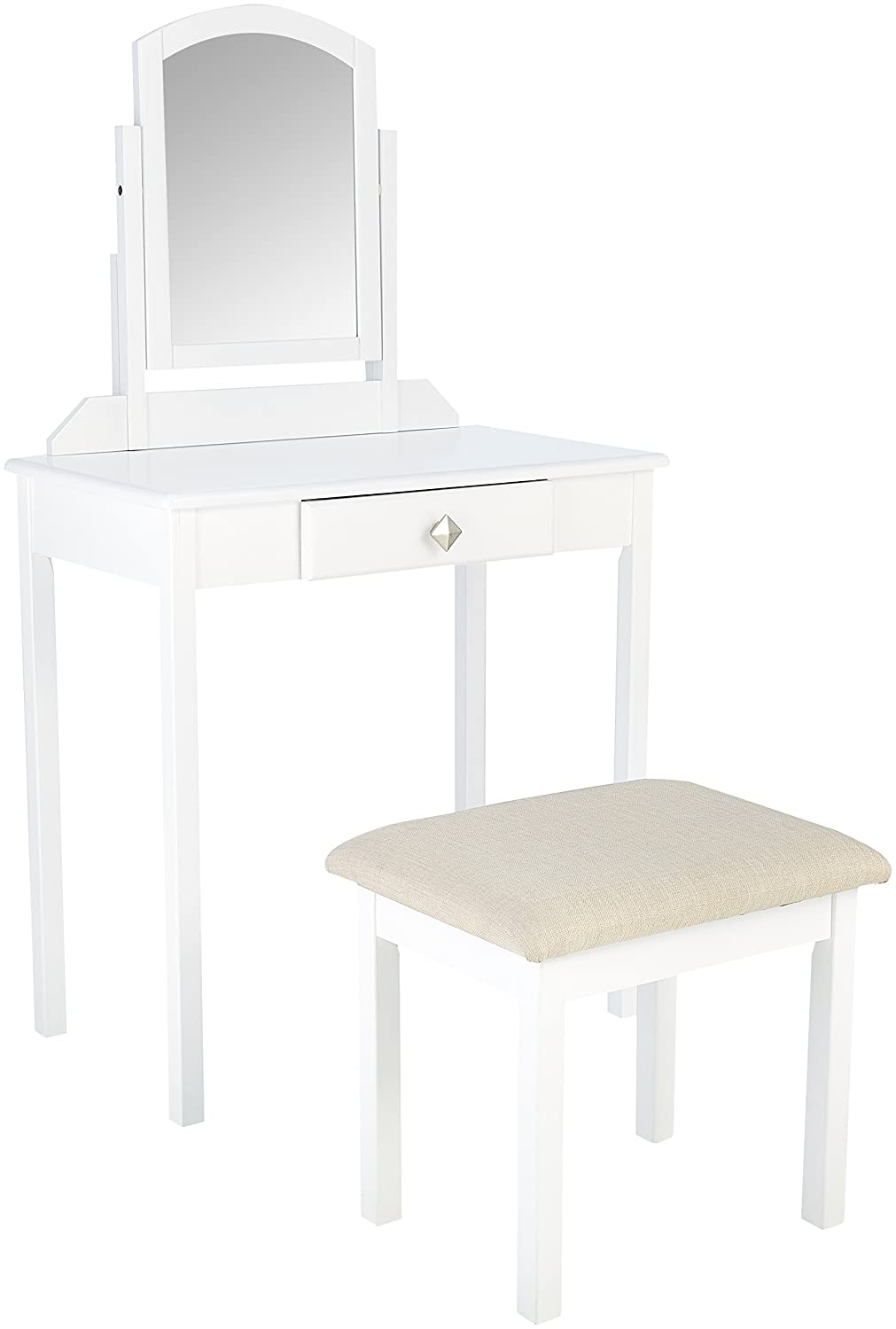 AmazonBasics Classic Compact Vanity Set with Stool -White