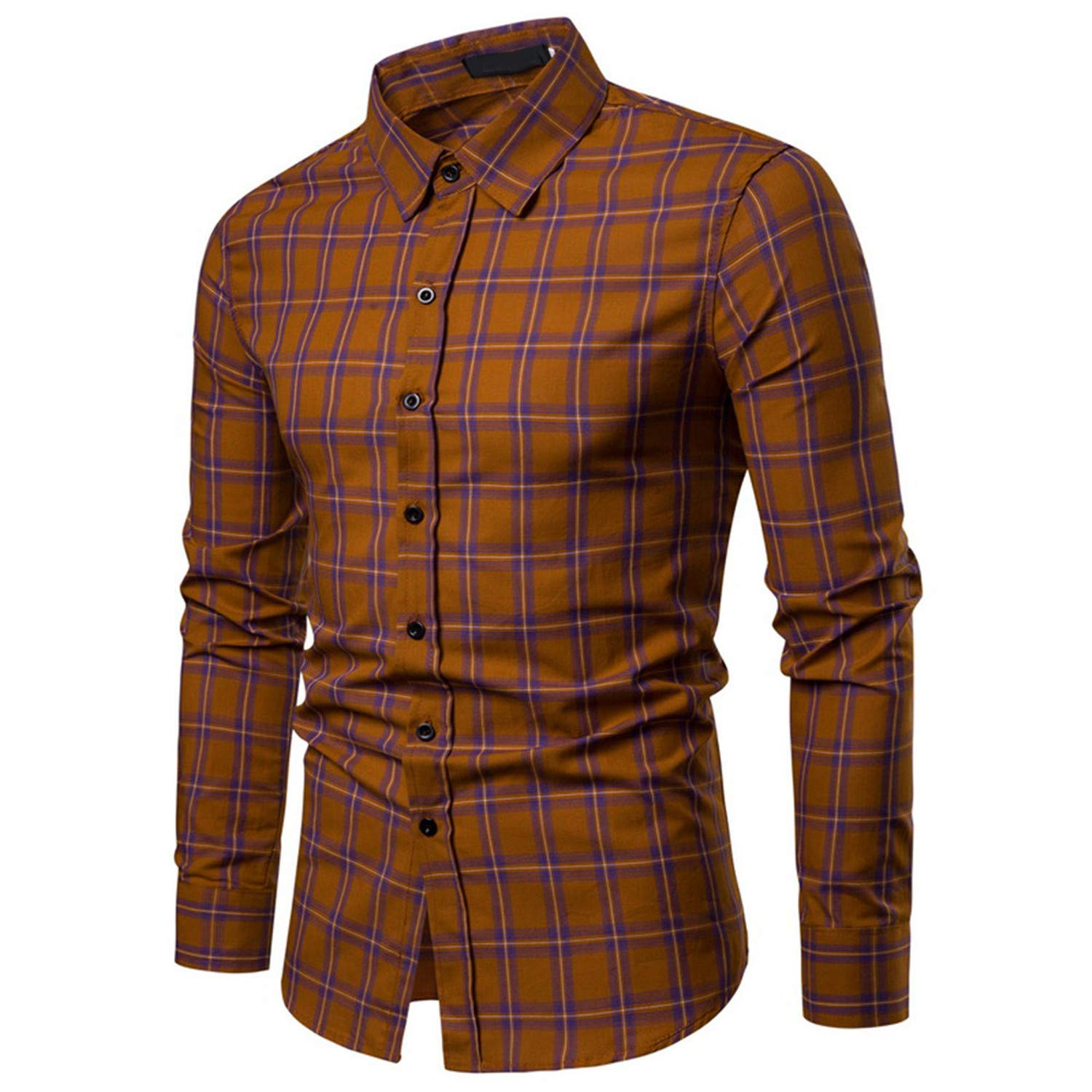 Mens Casual Long Sleeved Shirt Fashion Elegant Business Office Work Wear Blouse Green