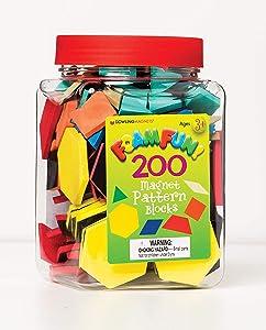 Dowling DO-732100 Magnets Foam Fun Magnet Pattern Blocks,Red/Blue/Yellow/green/Orange/Tan