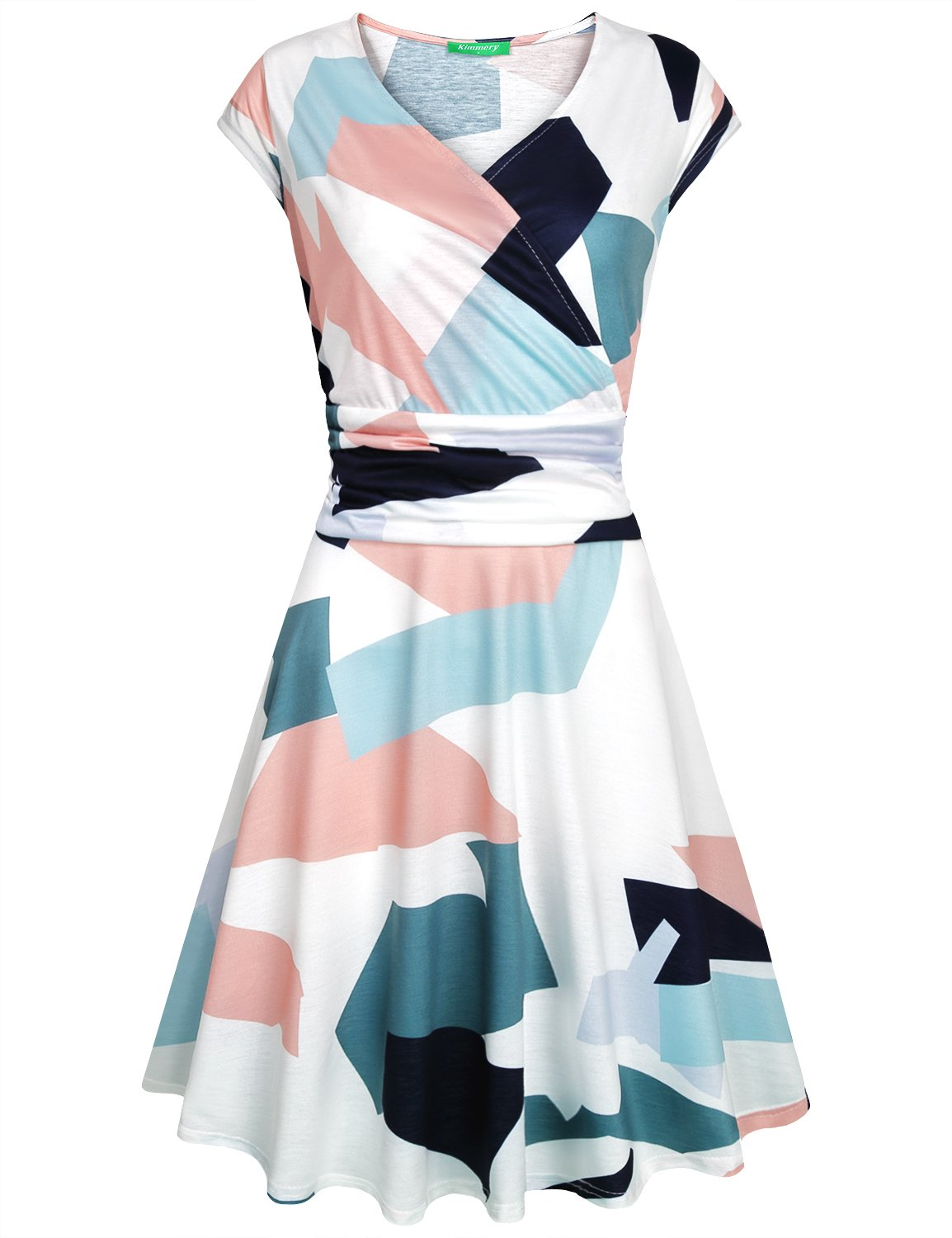 Kimmery Geometric Dress for Women, Stylish Elegant Fancy Skater Summer Dresses Short Sleeve Sexy Deep V Neck Designs Empire Waist Business Casual Knee Length Clothes Comfirmation Printed Outfits XXL