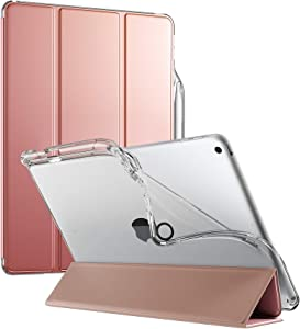 Poetic Lumos X Series Case for iPad 10.2 7th Generation 2019 / 8th Generation 2020 Case, Smart Cover with Apple Pencil Holder, Flexible Clear TPU Back, Slim Fit Trifold Stand Folio Front, Rose Gold