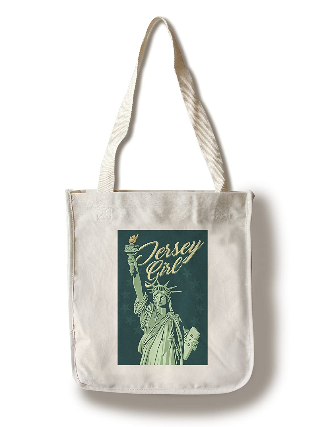 Jersey Girl – 自由の女神 – 緑背景 Canvas Tote Bag LANT-84733-TT B078PXCHT8  Canvas Tote Bag