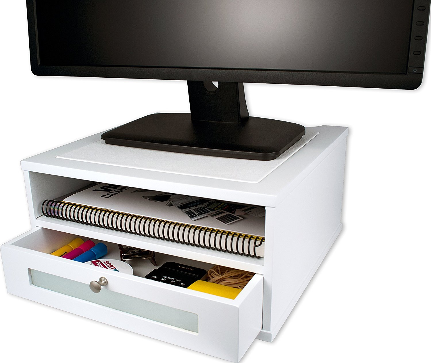 White Monitor Stand - Wooden Construction with Storage Compartments by Victor B00HK1T2HY ピュアホワイト ピュアホワイト