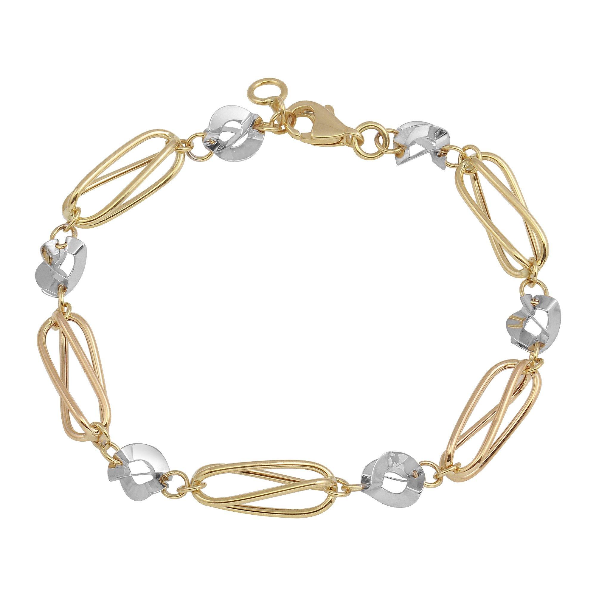 Polished 14k Tri-Color Gold Modern Stampato Spiral Love Bracelet