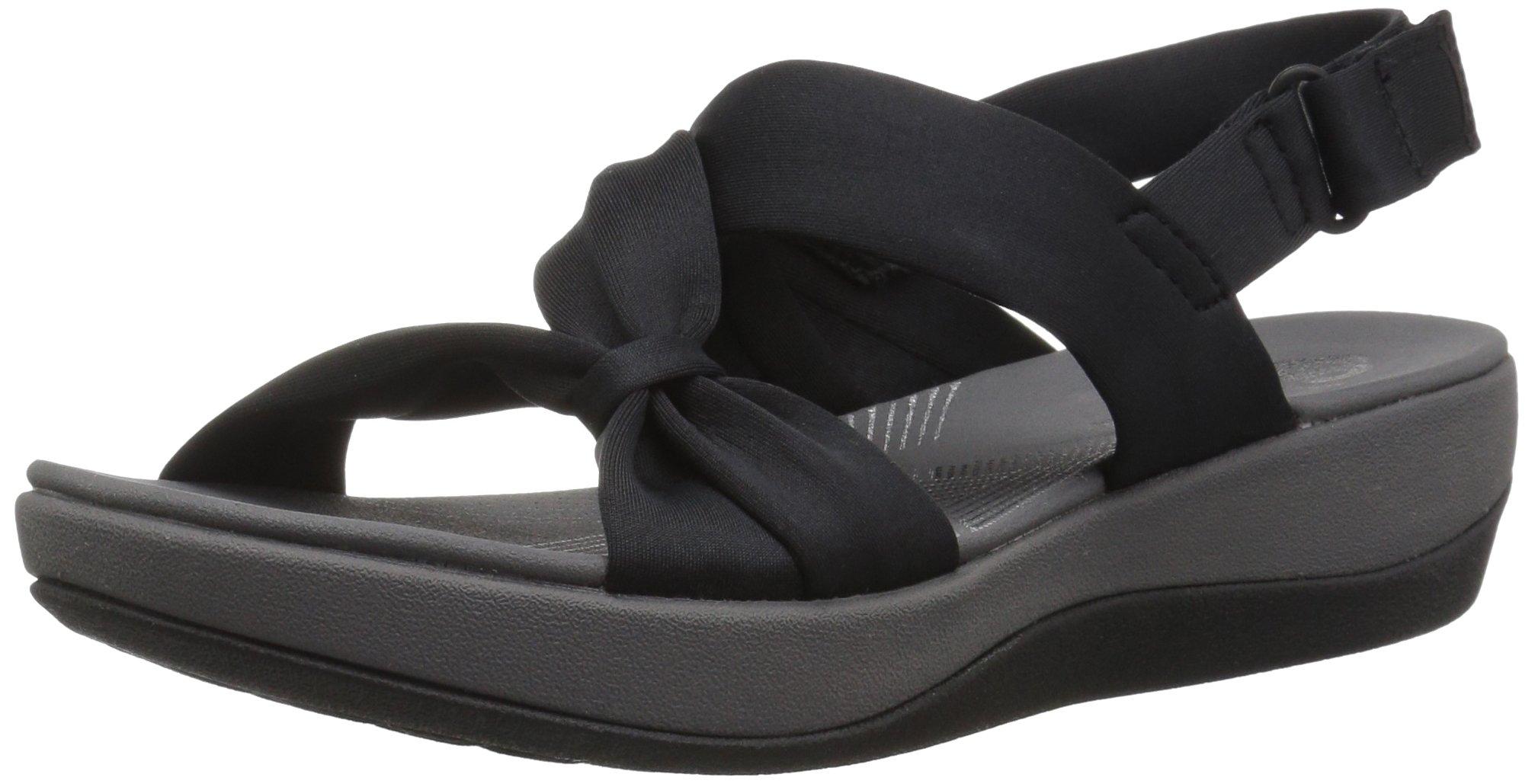 CLARKS Women's Arla Primrose Sandal, Black Fabric, 8 Medium US by CLARKS