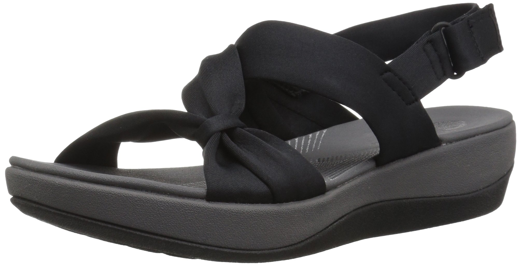 CLARKS Women's Arla Primrose Sandal Black Fabric 12 Wide US