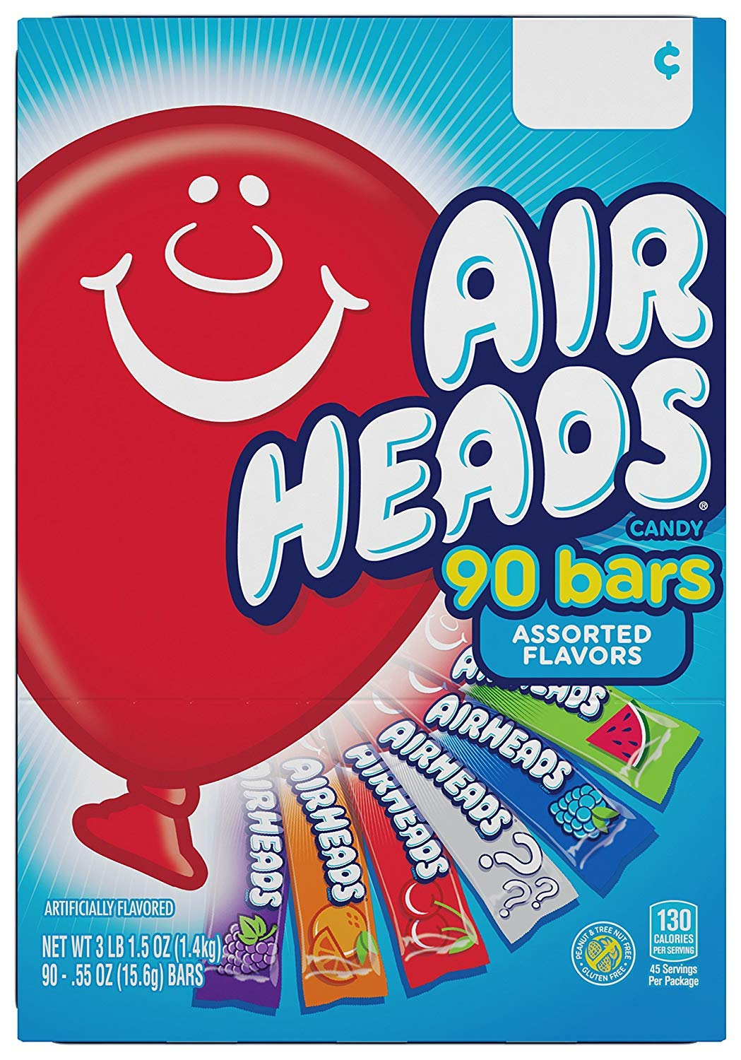 Airheads Bars, Chewy Fruit Candy, Easter Basket Stuffers, Variety Pack, Party, Non Melting, 90Count (Packaging May Vary), 2 Pack by Airheads (Image #2)